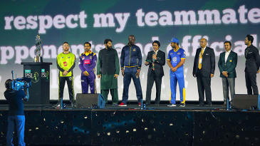 Team captains line the stage during the PSL opening ceremony
