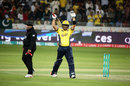Kamran Akmal is pumped up after getting to a half-century, Islamabad United v Peshawar Zalmi, Pakistan Super League 2017, Dubai, February 9, 2017
