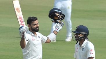 Virat Kohli celebrates after reaching his fourth Test double hundred