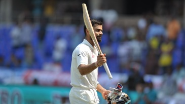 Virat Kohli fell soon after reaching his fourth Test double-hundred