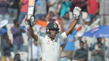 Wriddhiman Saha reached his second Test century with a six