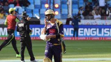 Kevin Pietersen walks back after his dismissal