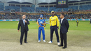 The captains get ready for the toss, Karachi Kings v Peshawar Zalmi, Pakistan Super League, Dubai, February 10, 2017