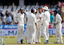 India get together after Umesh Yadav has Mominul Haque lbw, India v Bangladesh, one-off Test, 3rd day, Hyderabad, February 11, 2017
