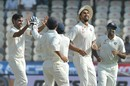 India's players celebrate the run-out of Tamim Iqbal, India v Bangladesh, one-off Test, 3rd day, Hyderabad, February 11, 2017