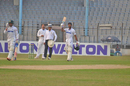 Shuvagata Hom raises his bat after reaching his century, Central Zone v South Zone, 2nd day, Bangladesh Cricket League, February 12, 2017