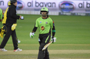 Umar Akmal walks back after his dismissal, Lahore Qalandars v Peshawar Zalmi, Dubai, February 12, 2017
