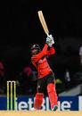 Imran Khan strikes a six during his unbeaten 38, Leeward Islands v Trinidad & Tobago, Regional Super50, Group A, Coolidge, February 12, 2017