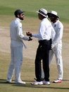 Virat Kohli and Ravindra Jadeja chat with umpire Joel Wilson, India v Bangladesh, one-off Test, Hyderabad, 5th day, February 13, 2017