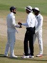 Virat Kohli and Ravindra Jadeja chat with umpire Joel Wilson, India v Bangladesh, one-off Test, Hyderabad, 5th day, February 13, 2017