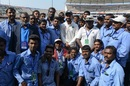 Virat Kohli poses with the groundstaff, India v Bangladesh, one-off Test, Hyderabad, 5th day, February 13, 2017
