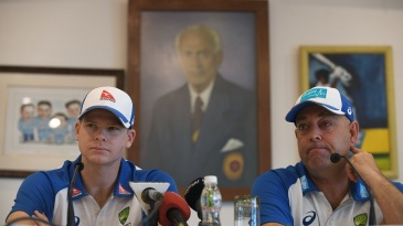 Steven Smith and Darren Lehmann address the media after arriving in India