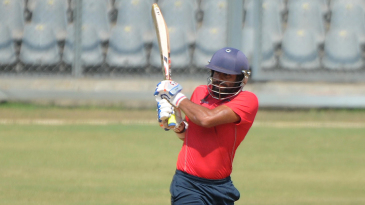Harpreet Singh steers the ball to the leg side