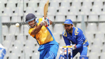 Mayank Agarwal punches the ball down the ground