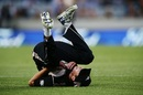 Mitchell Santner takes a tumble after dropping a catch, New Zealand v South Africa, one-off T20I, Auckland, February 17, 2017