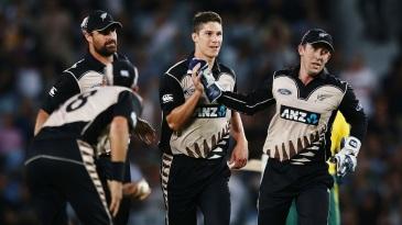 Ben Wheeler celebrates after dismissing Hashim Amla