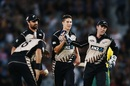 Ben Wheeler celebrates after dismissing Hashim Amla, New Zealand v South Africa, one-off T20I, Auckland, February 17, 2017