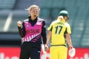 Lea Tahuhu reacts after taking a wicket, Australia Women v New Zealand Women, 1st T20I, Melbourne, February 17, 2017