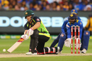 Aaron Finch plays a paddle sweep, Australia v Sri Lanka, 1st T20I, Melbourne, February 17, 2017