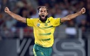 Imran Tahir is ecstatic after taking a wicket, New Zealand v South Africa, one-off T20I, Auckland, February 17, 2017