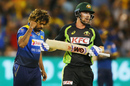 Lasith Malinga celebrates after removing Travis Head, Australia v Sri Lanka, 1st T20I, Melbourne, February 17, 2017