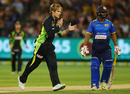 Adam Zampa celebrates after removing Dilshan Munaweera, Australia v Sri Lanka, 1st T20I, Melbourne, February 17, 2017