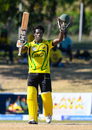 Chadwick Walton celebrates bringing up his maiden List A century, Jamaica v Trinidad & Tobago, WICB Regional Super50 2016-17, 1st semi-final, Antigua, February 15, 2017