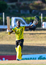 Jermaine Blackwood celebrates after reaching his maiden List A century, Jamaica v Trinidad & Tobago, WICB Regional Super50 2016-17, 1st semi-final, Antigua, February 15, 2017