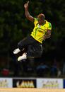 Rovman Powell celebrates after dismissing Denesh Ramdin, Jamaica v Trinidad & Tobago, WICB Regional Super50 2016-17, 1st semi-final, Antigua, February 15, 2017