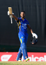 Shai Hope raises his bat after recording a century in the final, Barbados v Jamaica, WICB Regional Super50 2016-17, Final, Antigua, February 15, 2017