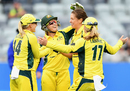 Molly Strano celebrates a wicket with her team-mates, Australia v New Zealand, 2nd women's T20I, Geelong, February 19, 2017