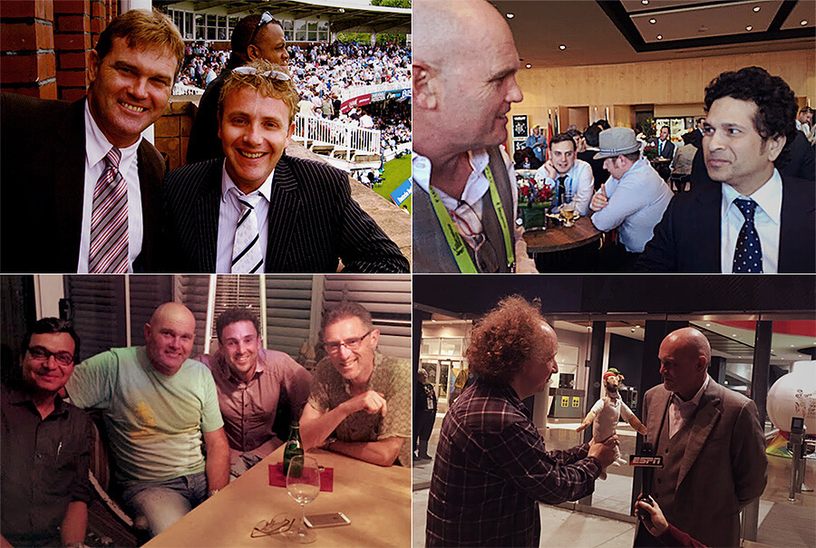 Clockwise from top left: Crowe with Tim Roxborogh; with Sachin Tendulkar on World Cup final day, 2015; introduced to WG Grace by Andy Zaltzman; with Sambit Bal, Ed Cowan and Gideon Haigh