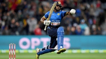 Asela Gunaratne jumps in joy after hitting the winning runs