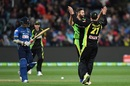 Andrew Tye and Moises Henriques celebrate after removing Milinda Siriwardana, Australia v Sri Lanka, 2nd T20 International, Geelong, February 19, 2017