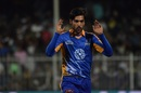 Mohammad Amir reacts after bowling a delivery, Karachi Kings v Lahore Qalandars, Pakistan Super League 2017, Sharjah, February 16, 2017