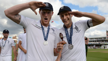 Ben Stokes and Joe Root effect a salute