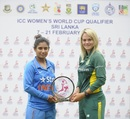 Mithali Raj and Dane van Niekerk with the championship trophy, ICC Women's World Cup Qualifier 2017, Colombo, February 20, 2017