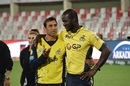 Younis Khan and Darren Sammy have a chat, Karachi Kings v Peshwar Zalmi, PSL 2017, Sharjah, February 19, 2017