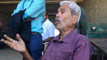 Pandurang Salgaoncar, the pitch curator at the Maharashtra cricket association stadium, speaks to reporters