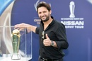 Say cheese: Shahid Afridi poses with the Champions Trophy, Dubai, February 21, 2017