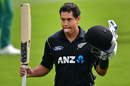 Ross Taylor acknowledges the crowd after bringing up his 17th ODI century, New Zealand v South Africa, 2nd ODI, Christchurch, February 22, 2017