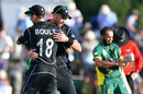 Tim Southee and Trent Boult embrace after New Zealand's win, New Zealand v South Africa, 2nd ODI, Christchurch, February 22, 2017