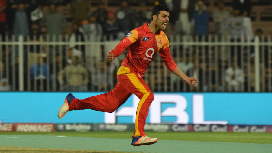Shadab Khan takes off after taking a wicket