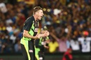 James Faulkner rejoices after taking a wicket, Australia v Sri Lanka, 3rd T20 International, Adelaide, February 22, 2017
