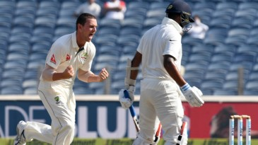 Josh Hazlewood removed M Vijay for 10