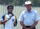 Malinga Bandara talks to Ashley Mallett at a training session ahead of the match, Australia v Sri Lanka, seventh match, VB Series, Adelaide, January 25, 2006