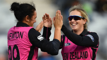 Anna Peterson is congratulated after one of her three wickets