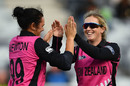 Anna Peterson is congratulated after one of her three wickets, Australia v New Zealand, 2nd women's T20I, Geelong, February 19, 2017