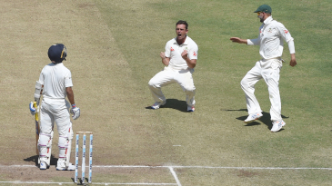 Steve O'Keefe is thrilled after taking a wicket