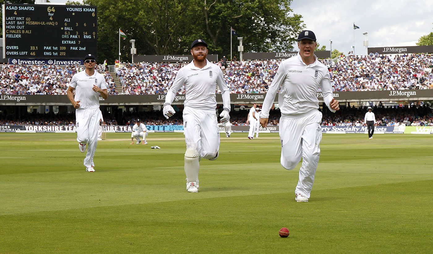 Gary Ballance, Jonny Bairstow and Alastair Cook chase the ball
